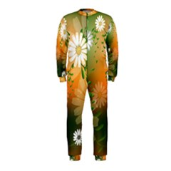 Beautiful Flowers With Leaves On Soft Background OnePiece Jumpsuit (Kids)