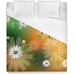 Beautiful Flowers With Leaves On Soft Background Duvet Cover Single Side (double Size)