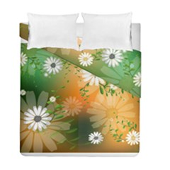 Beautiful Flowers With Leaves On Soft Background Duvet Cover (twin Size)