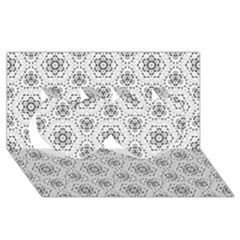Bridal Lace 2 Twin Hearts 3d Greeting Card (8x4)