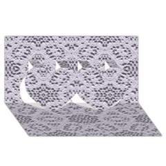 Bridal Lace 3 Twin Hearts 3D Greeting Card (8x4)