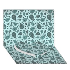 Vintage Paisley Aqua Heart Bottom 3D Greeting Card (7x5)