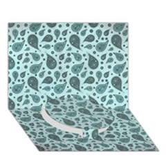 Vintage Paisley Aqua Circle Bottom 3D Greeting Card (7x5)