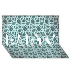 Vintage Paisley Aqua PARTY 3D Greeting Card (8x4)