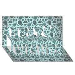 Vintage Paisley Aqua Best Wish 3d Greeting Card (8x4)