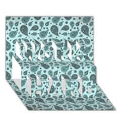 Vintage Paisley Aqua WORK HARD 3D Greeting Card (7x5)