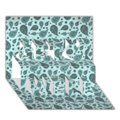 Vintage Paisley Aqua Get Well 3D Greeting Card (7x5)