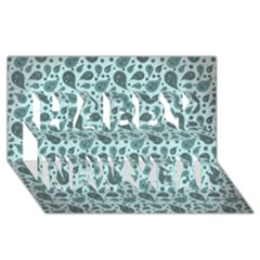 Vintage Paisley Aqua Happy New Year 3D Greeting Card (8x4)