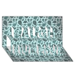 Vintage Paisley Aqua Laugh Live Love 3D Greeting Card (8x4)