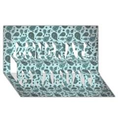 Vintage Paisley Aqua Congrats Graduate 3D Greeting Card (8x4)