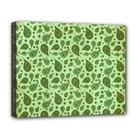 Vintage Paisley Green Deluxe Canvas 20  x 16