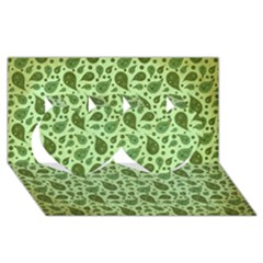 Vintage Paisley Green Twin Hearts 3D Greeting Card (8x4)