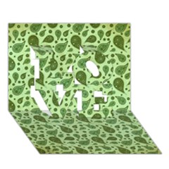 Vintage Paisley Green LOVE 3D Greeting Card (7x5)