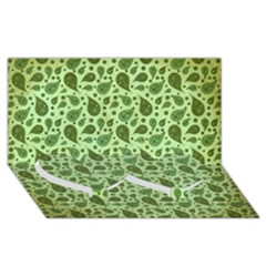 Vintage Paisley Green Twin Heart Bottom 3D Greeting Card (8x4)