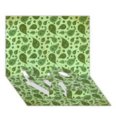 Vintage Paisley Green Love Bottom 3d Greeting Card (7x5)