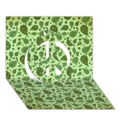 Vintage Paisley Green Peace Sign 3D Greeting Card (7x5)