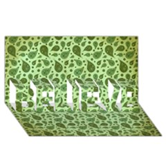 Vintage Paisley Green BELIEVE 3D Greeting Card (8x4)