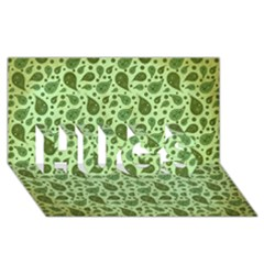 Vintage Paisley Green HUGS 3D Greeting Card (8x4)