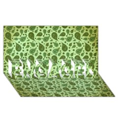 Vintage Paisley Green Engaged 3d Greeting Card (8x4)