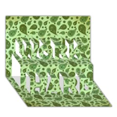 Vintage Paisley Green WORK HARD 3D Greeting Card (7x5)