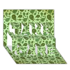 Vintage Paisley Green Take Care 3d Greeting Card (7x5)