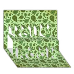 Vintage Paisley Green You Rock 3d Greeting Card (7x5)