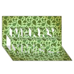 Vintage Paisley Green Merry Xmas 3D Greeting Card (8x4)