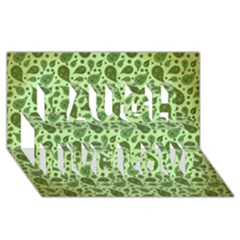 Vintage Paisley Green Laugh Live Love 3D Greeting Card (8x4)
