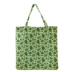 Vintage Paisley Green Grocery Tote Bags