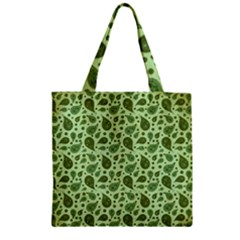 Vintage Paisley Green Zipper Grocery Tote Bags
