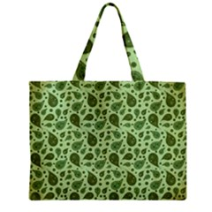 Vintage Paisley Green Zipper Tiny Tote Bags