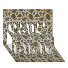Vintage Paisley Grey You Did It 3d Greeting Card (7x5)