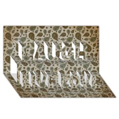 Vintage Paisley Grey Laugh Live Love 3D Greeting Card (8x4)