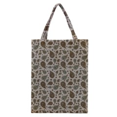 Vintage Paisley Grey Classic Tote Bags