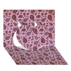Vintage Paisley Pink Heart 3d Greeting Card (7x5)