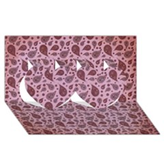 Vintage Paisley Pink Twin Hearts 3D Greeting Card (8x4)
