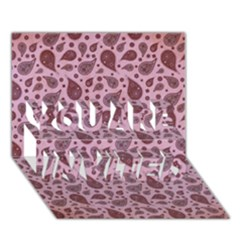 Vintage Paisley Pink YOU ARE INVITED 3D Greeting Card (7x5)