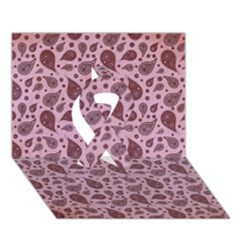 Vintage Paisley Pink Ribbon 3D Greeting Card (7x5)