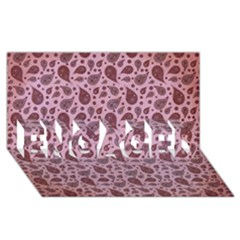 Vintage Paisley Pink ENGAGED 3D Greeting Card (8x4)