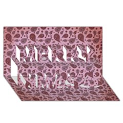 Vintage Paisley Pink Merry Xmas 3d Greeting Card (8x4)