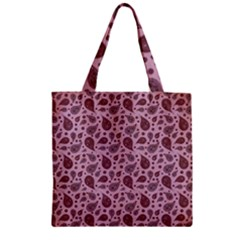 Vintage Paisley Pink Zipper Grocery Tote Bags
