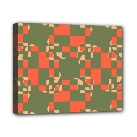 Green orange shapes Canvas 10  x 8  (Stretched)