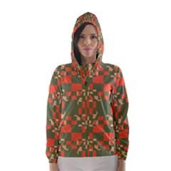 Green Orange Shapes Hooded Wind Breaker (women)