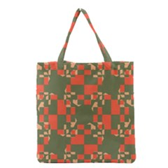 Green orange shapes Grocery Tote Bag