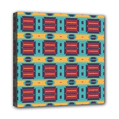 Blue red and yellow shapes pattern Mini Canvas 8  x 8  (Stretched)