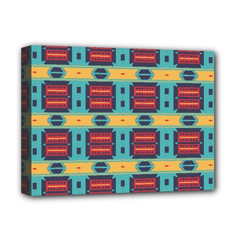 Blue red and yellow shapes pattern Deluxe Canvas 16  x 12  (Stretched)
