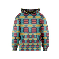 Blue red and yellow shapes pattern Kid s Pullover Hoodie