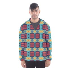 Blue Red And Yellow Shapes Pattern Mesh Lined Wind Breaker (men)