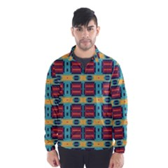 Blue Red And Yellow Shapes Pattern Wind Breaker (men)