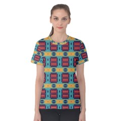 Blue red and yellow shapes pattern Women s Cotton Tee